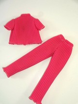 Vintage Unbranded Barbie Size Retro Mod Pink Flare Bottom Pants Outfit E... - $16.04