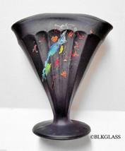 Vintage Black Satin Glass Fan Vase Ribbed Bird 7 inch 5.5x1.7open - $19.99