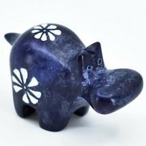 Hand Carved Kisii Soapstone Tiny Miniature Dark Blue Hippopotamus Hippo Figure