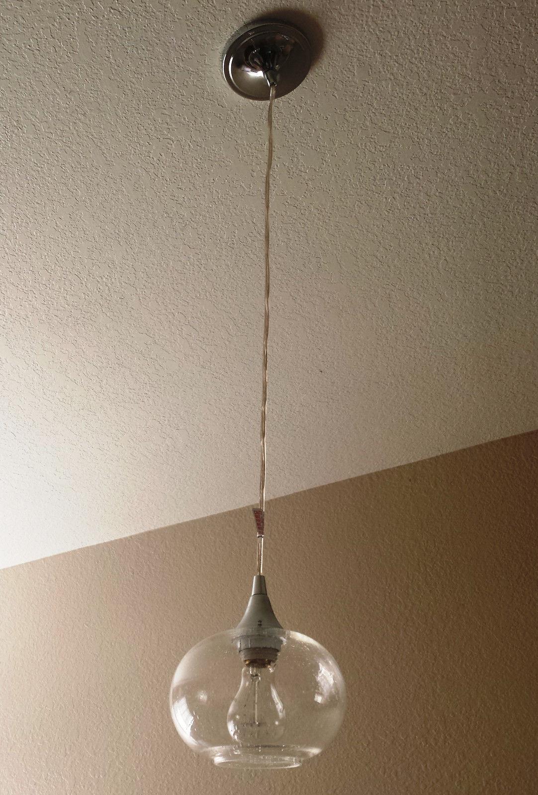 Elegant Chrome Finish Hanging Mini Pendant Round Seeded Glass Kitchen Island