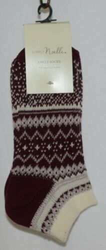 Simply Noelle Cream Maroon Blush Ankle Socks One Size Fits Most