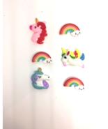 Rainbows and Unicorn Push Pins Thumb Tacks, Magnets x6 for Cork Message ... - $9.99