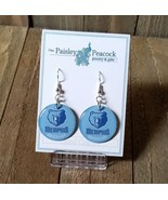 Memphis Grizzlies Earrings Round Logo Handmade Light Blue  - $7.99