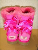 UGG BAILEY BOW PINK CHERISE KIDS YOUTH US 4 -will fit Women US 6 / EU 37... - $111.27
