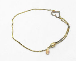 ALEX & ANI 925 Silver - Petite Gold Plated Open Love Heart Chain Bracelet- B4204 image 4