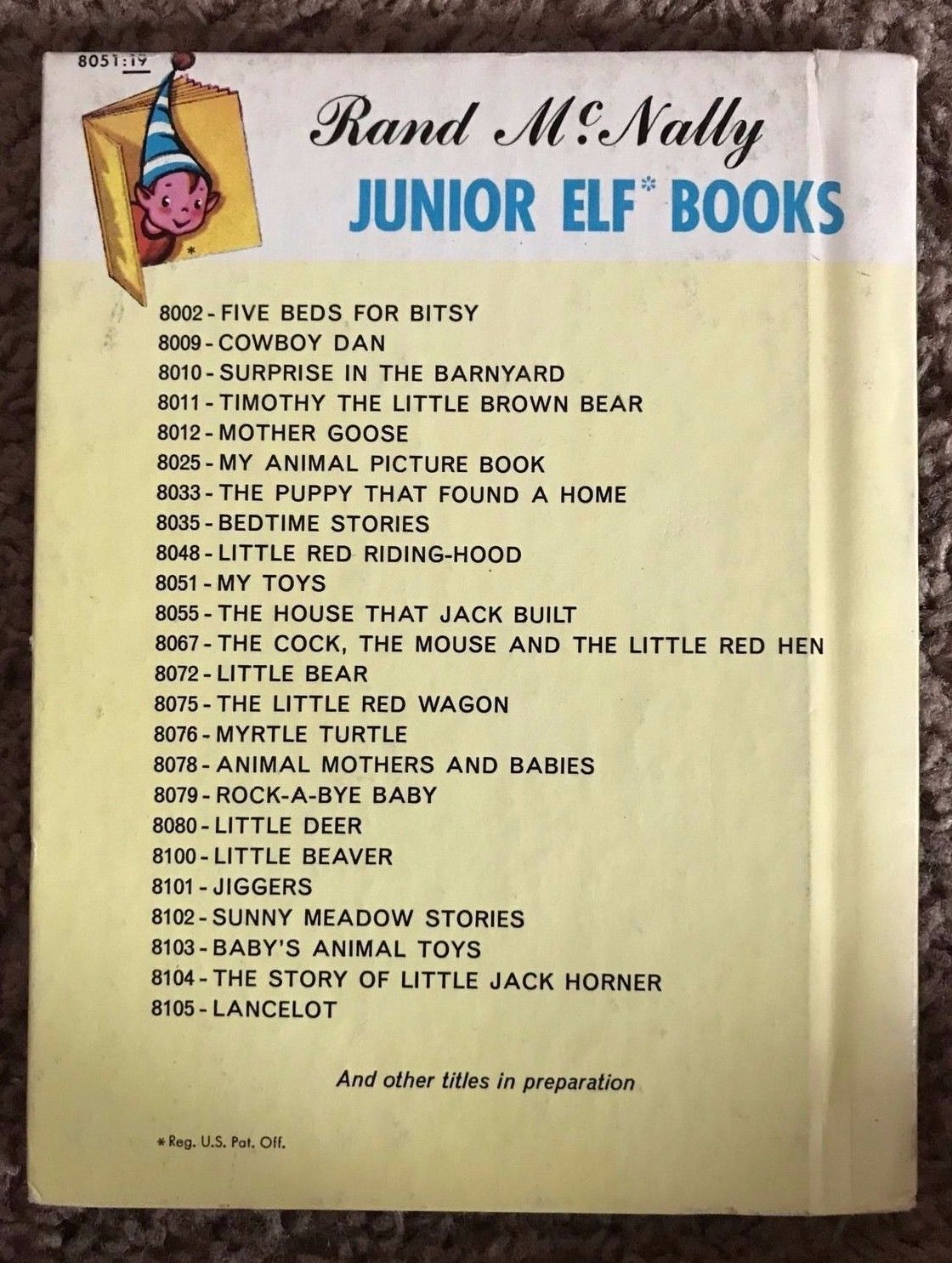 My Toys Rand McNally Junior Elf 8051:19 Hard Back Children's Book vintage 1950s