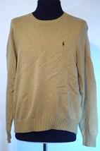 Polo Ralph Lauren Men's Sweater Tan Brown Pony V-Neck 100% Pima Cotton L Medium - $22.23