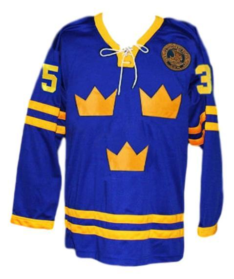 Custom Name # Tre Kronor Sweden Hockey Jersey Blue Henrik Lundqvist Any Size