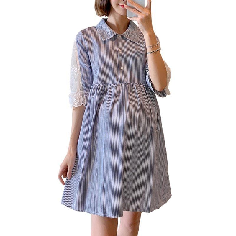 Maternity's Dress Turn Down Collar Stripe Short Sleeve Dress