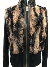 St. John Sport by Marie Black and Brown Faux Furry Jacket, Womens Size S... - $38.89