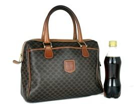 Authentic CELINE Macadam Coated Canvas & Leather Handbag Purse Italy Use... - $143.55