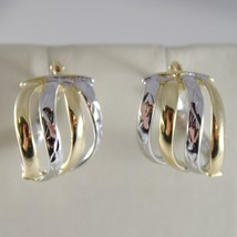 White Gold Earrings 18k 750 Yellow Circle, alternating Wave, processed, Italy image 1