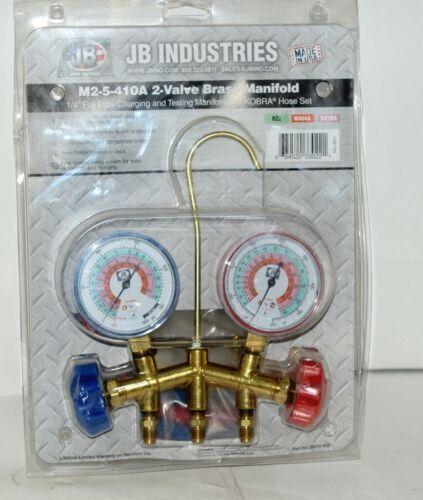 JB industries M2 5 410A Brass Mainfold 2 Valves Kobra Hose Set USA Made