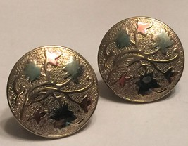 VTG Gold Screw Back Earrings Round Medallion Repousse Vine Leaves Art No... - $22.98