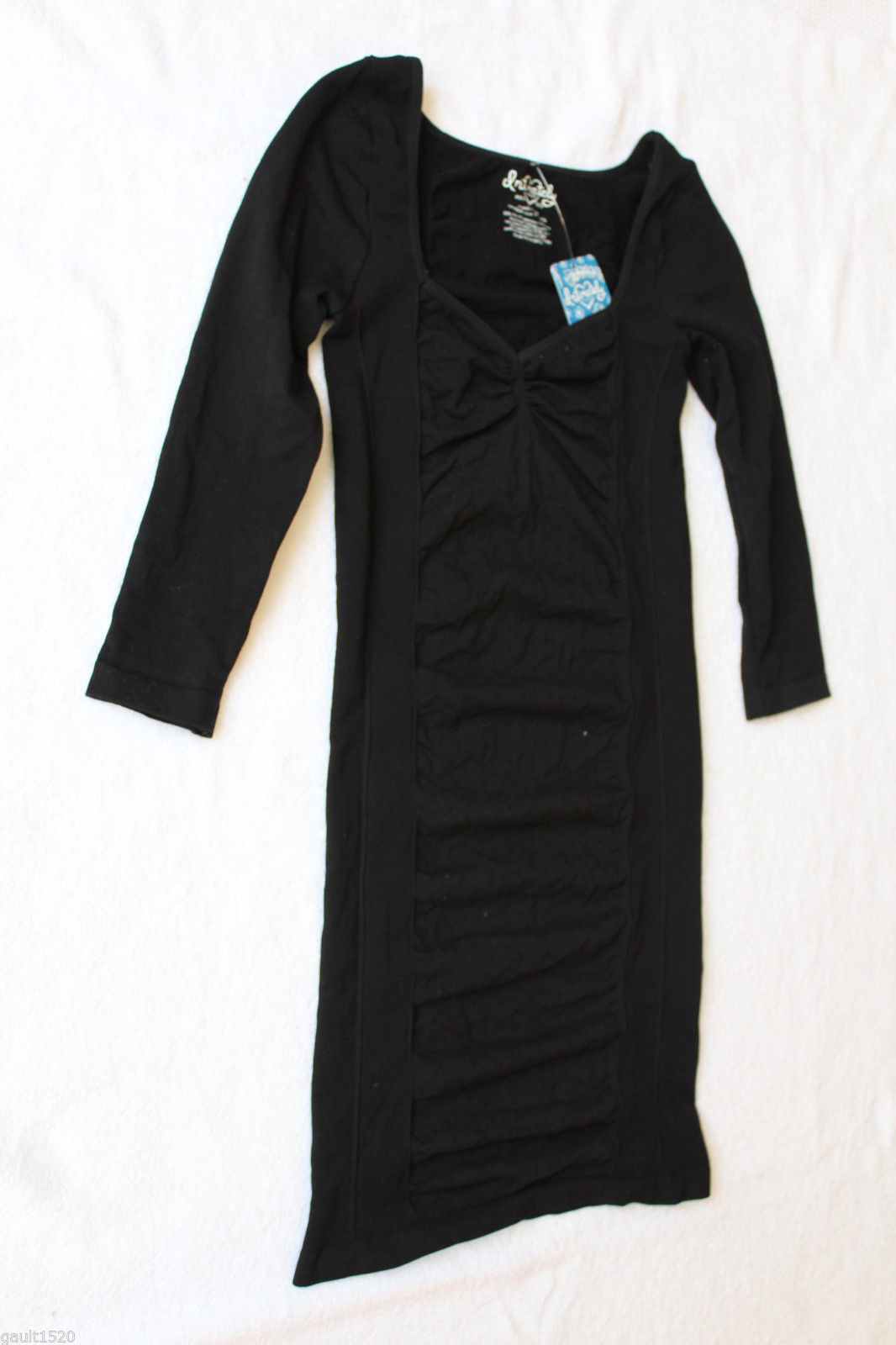 NWT Free People Intimately Sexy Black BodyCon Sheath Ruched Dot Dress XS S $128
