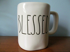 """RAE DUNN by Magenta BLESSED White Coffee Tea Mug Cup Red Inside 4.5"""" Tall  - $16.95"""