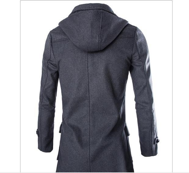 Mens button slim detachable hat coat worsted wool coat