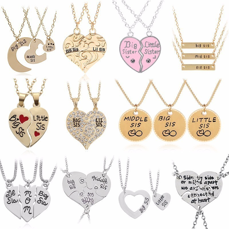 Primary image for 2PC/Set Big Sis Lil Sis Pendant BFF Best Sister Necklaces&Pendants Heart Stitchi