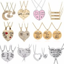 2PC/Set Big Sis Lil Sis Pendant BFF Best Sister Necklaces&Pendants Heart Stitchi - $10.44