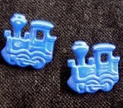 TRAIN ENGINE BUTTON EARRINGS-Model Railroad Funky Jewelry-BLUE - $3.97
