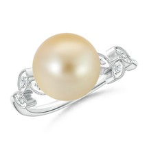 Golden South Sea Cultured Pearl Ring with Leaf Motifs Silver/ 14K Gold S... - $501.88+