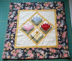 "Hand Made Quilt Wall Hanging Pieced Tulip Pink Blue Yellow 18 1/2"" x 18 ... - $17.82"