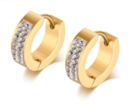 Small Hoop Earrings for Women Crystal Earings Stainless Steel Gold - $14.99