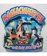 Massachusetts The Bay State Artwood Montage Fridge Magnet - $6.50