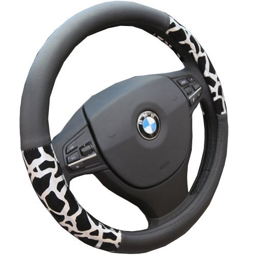 PANDA SUPERSTORE Luxury Design Silver Leopard Steering Wheel Cover (38CM)
