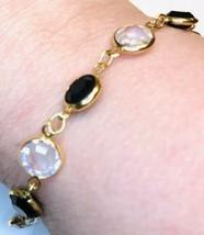Vintage Swarovski Black Clear Crystal Link Bracelet Signed GOLDTONE Extender J91 - $18.99