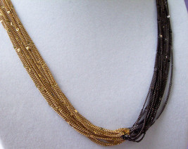 OROTON Gold n Black Chain Multi Strand Necklace Twist Sparkle Curb Uniqu... - $26.72