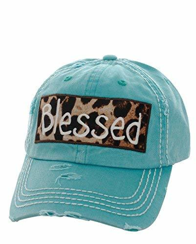 Distressed Vintage Style Embroidered Leopard Blessed Baseball Hat (Turquoise)