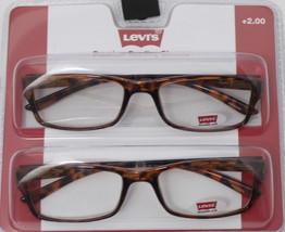 Levi's Mens Reading Glasses 2 Pack, Tortoise Rectangle Plastic 1.50 Powe... - $22.49