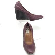 "LANVIN PARIS Ballet 4"" Wedges - Wine Round Toe High Heel Pumps - Women Size US 9 - $53.41"