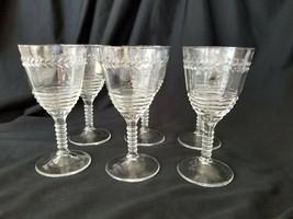 Federal Glass Water Goblet Set 6 Embossed Laurel Rippled Bowl Ringed Ste... - $37.95