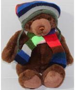 Vintage 2000 GUND LORD & TAYLOR BROWN TEDDY BEAR Scarf Beanie STUFFED PL... - $20.78