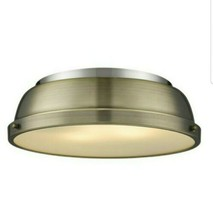 Golden Lighting Duncan 14 in. Flush Mount in Pewter with an Aged Brass Shade - $69.83