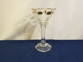 Clear Glass Gold Accent Deep Fluted Champagne Glass Vintage Estate Colle... - $7.84