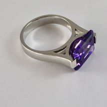 925 Silver Ring Rhodium with Crystal Purple Shaped Rectangular image 4