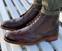 Handmade Men Mahroon Leather High Ankle Embroidered Laceup Boots image 3