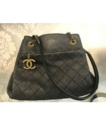 CHANEL Charcoal Leather w/ Metallic Silver Accent Double Shoulder Strap ... - $2,573.90