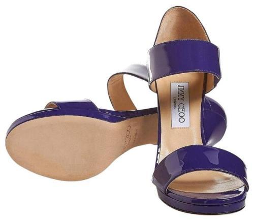 NEW JIMMY CHOO Alana Leather Double Band Sandals, Violet (Size 40) - MSRP $795
