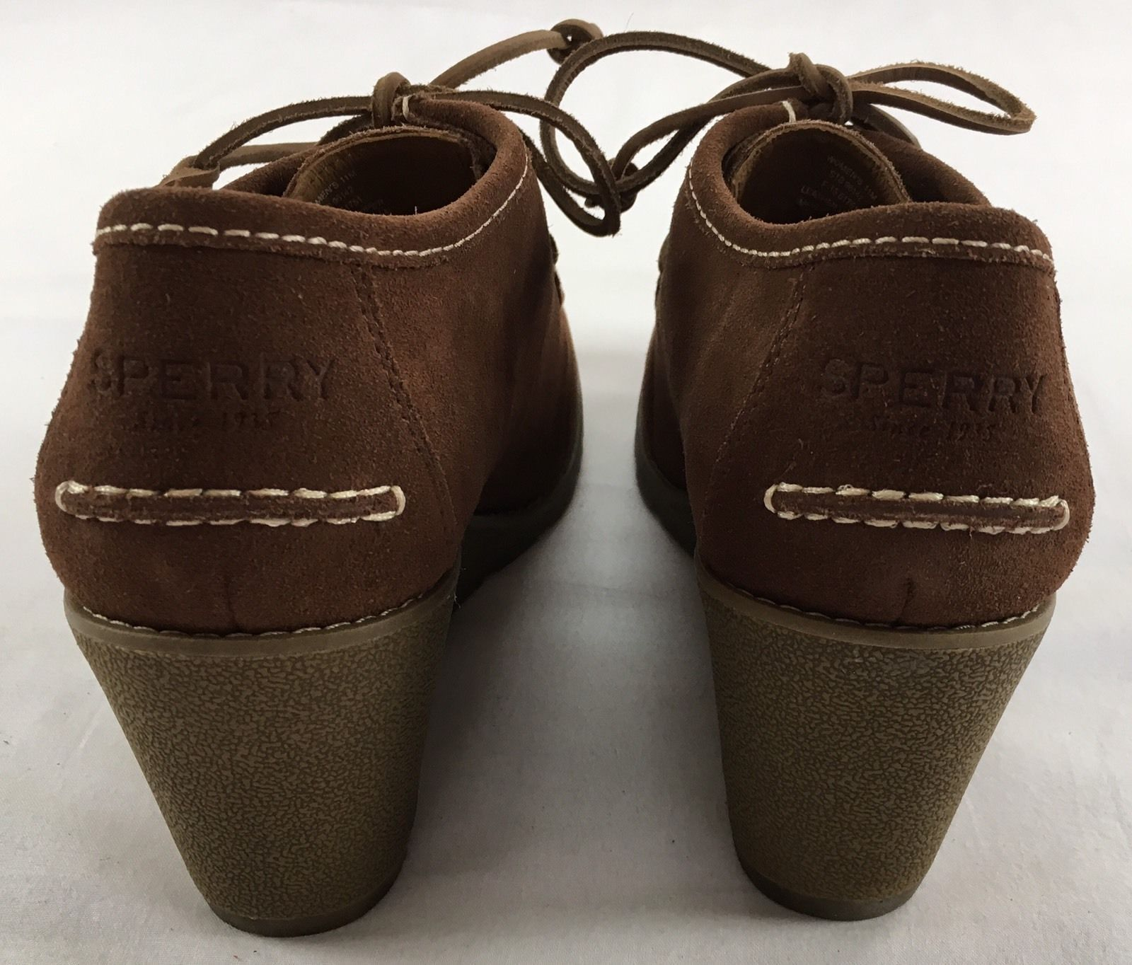 a913e96db0a SPERRY TOP-SIDER Wedge Booties Stella Keel Brown Suede Leather Boots Shoes  11