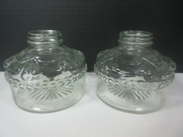 2 Vintage Eagle Short Clear Oil Lamp Bases USA 33 70 Matching Pair - $9.00