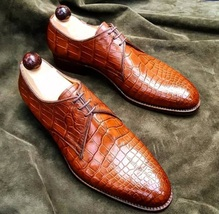 Handmade Men's Crocodile Texture Brown Dress/Formal Leather Oxford Shoes image 4