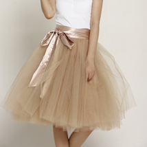 Midi Tulle Ruffle Skirt 6-Layered Ballerina Tulle Skirt Brown White image 11