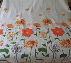 Orange White Flower King Quilted Blanket 86 x 102 PDK  Worldwide  - $128.69