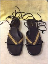 VINTAGE GUCCI LEATHER GLADIATOR BROWN/ BEIGE Flats Sandal SZ. 36-C Eu. 6 US - $116.10