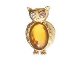 Jelly Belly Jewelry Owl Pin Gold Tone Amber Glass Stone Vintage Monet Brooch - $12.95