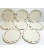 """8 Corelle Hometown 10 1/4"""" Corning Red Hearts Homes Blue Flowers Dinner ... - $43.23"""